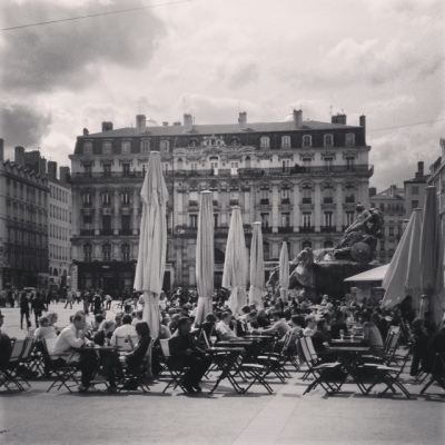 Black and white Place des Terreaux
