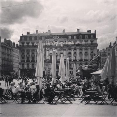 Black and white Place des Terreaux