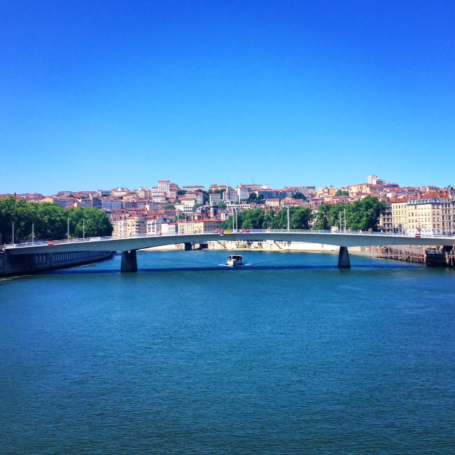 This one is the Saône, and the hill with all those little red roofs is la Croix Rousse.