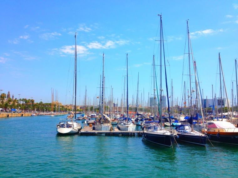 Barcelona port boats