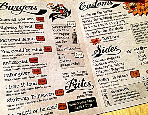 MMontpellier Burgernco menu