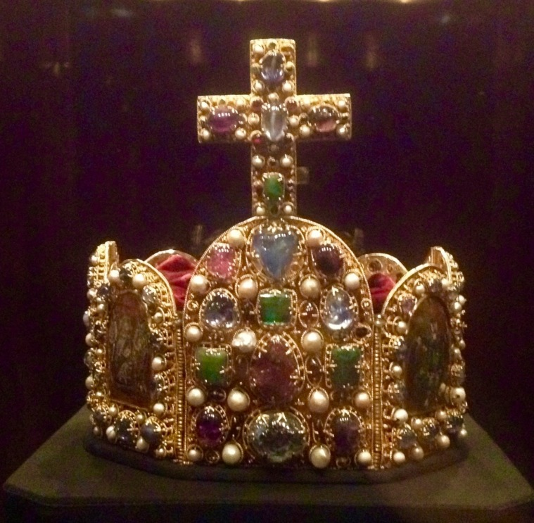 Heavy, bejeweled crown I was not allowed to try on.