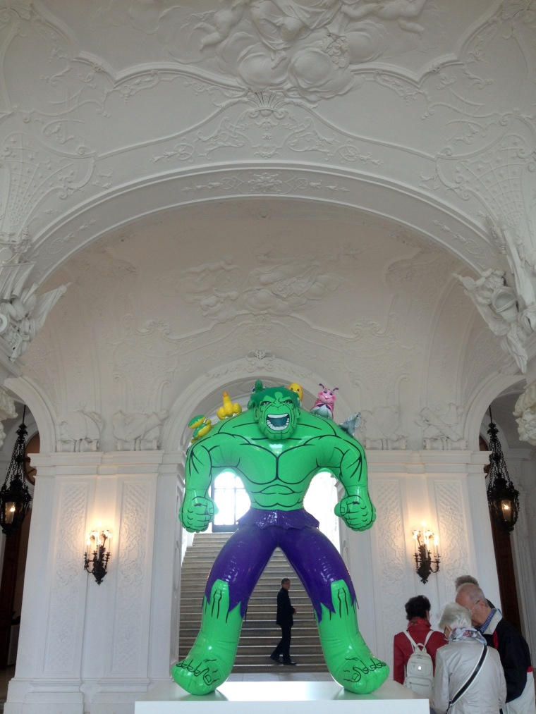 This was just chilling in the entrance hall. Not sure why. Why NOT put an inflatable Hulk in your chateau museum, right?