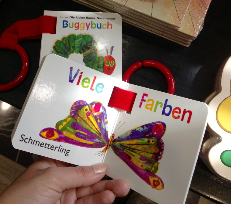 I found this in the gift shop - The Very Hungry Caterpillar in German. He turns into a Schmetterling!